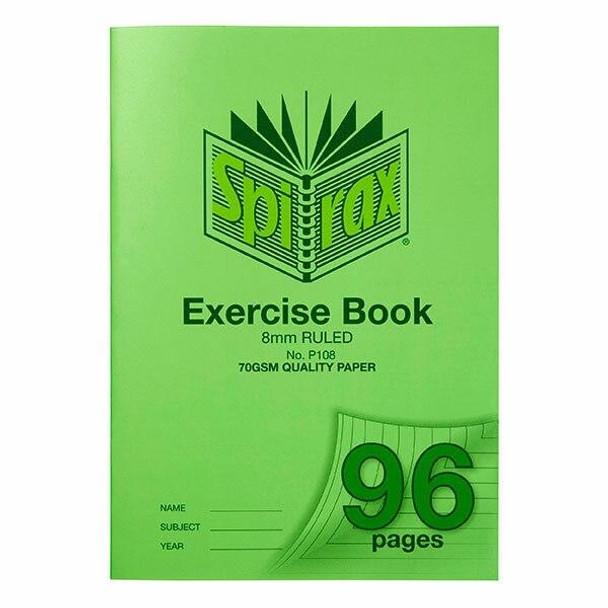 Spirax P108 Exercise Book A4 8mm 96page X CARTON of 10 56108P