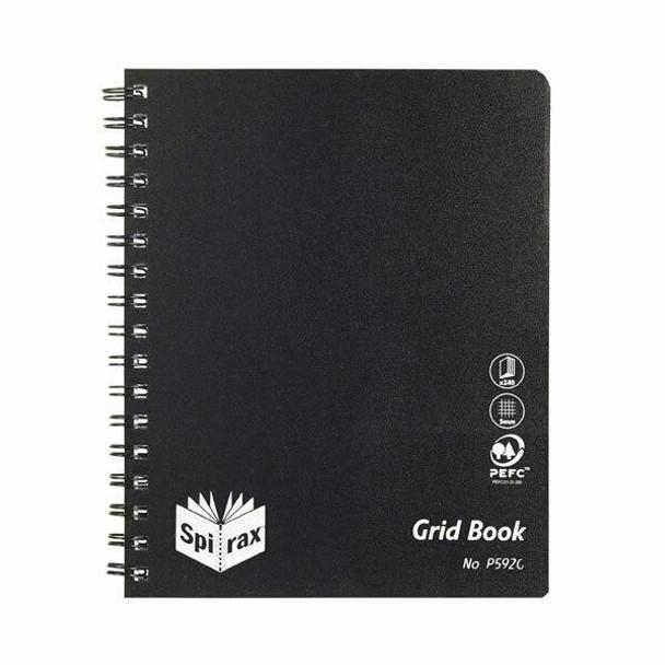 Spirax P592g Pp Grid Book 222x178mm 240 Pages Bk S/O X CARTON of 5 5659000