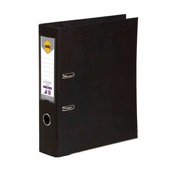 Marbig Lever Arch File Foolscap Black X CARTON of 10 6502602
