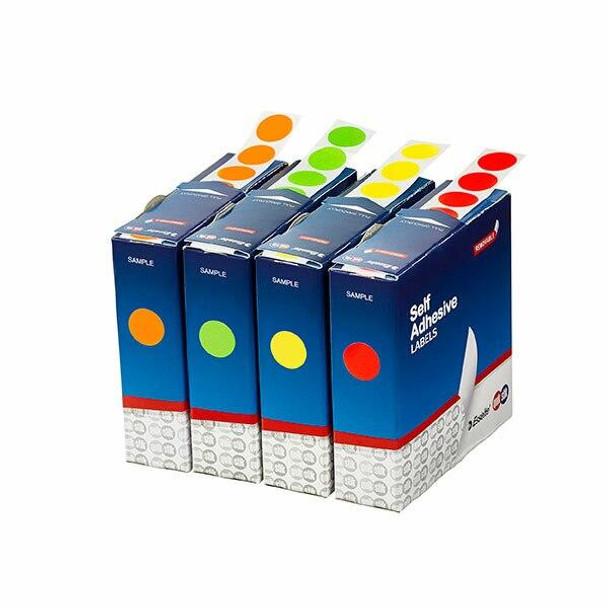 Quikstik Label Dispenser Circle 14mm Fluoro Green 700 Labels 80103CPFG