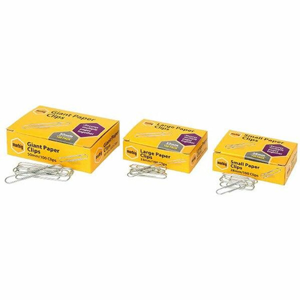 Marbig Paper Clips 33mm Large Box100 X CARTON of 10 87085