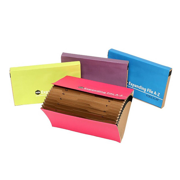 Marbig Expanding File Foolscap A-Z Assorted Summer Colours X CARTON of 8 90060/08