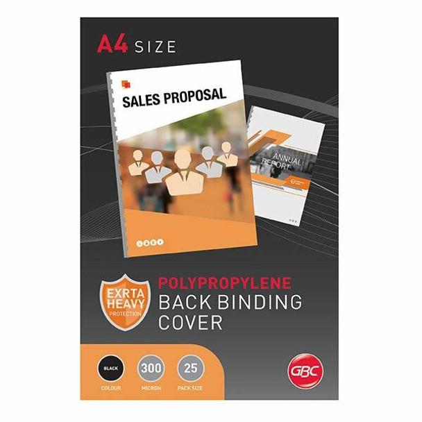 GBC Binding Cover A4 Polycover Black Pack25 BCP300BK25