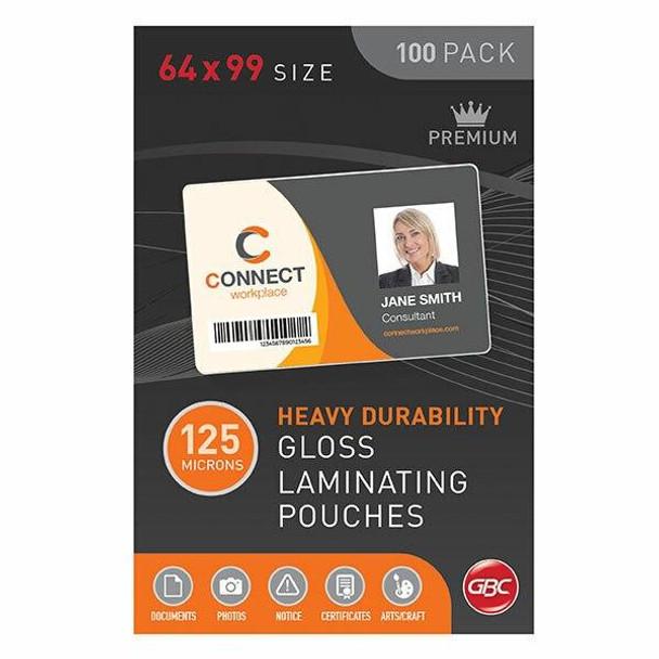 GBC Laminating Pouch 64x99mm 125 Micronron Pack100 BL125M64X99