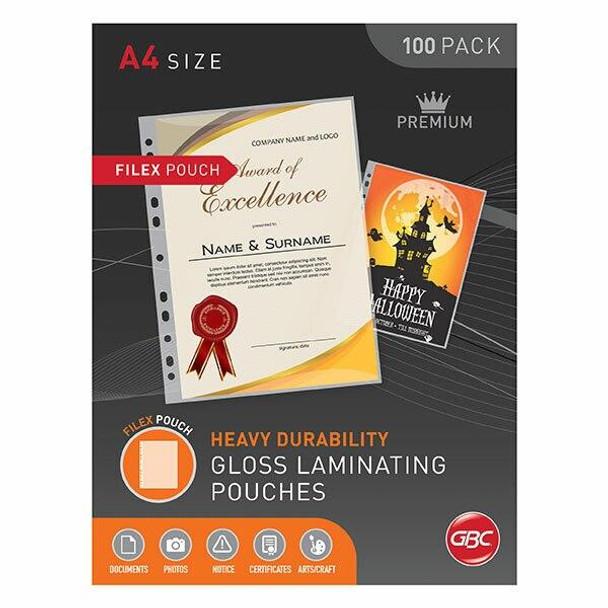 GBC Laminating Pouch A4 125 Micronron Pack100 Filex BL125MA4FILEX