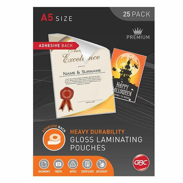 GBC Laminating Pouch A5 125 Micronron Pack25 Adhesive BLADHA5