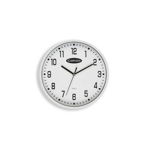Carven Clock 225mm White Frame CL225WH