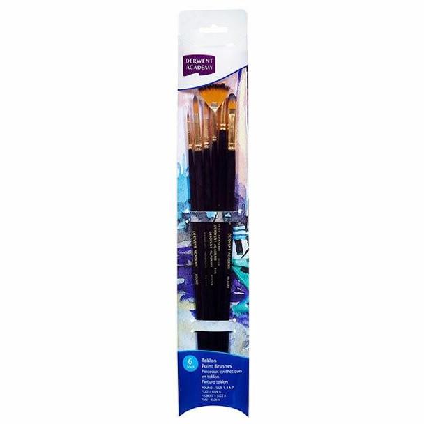DERWENT Academy Taklon Paint Brush Set Large 6Pack X CARTON of 5 R310360