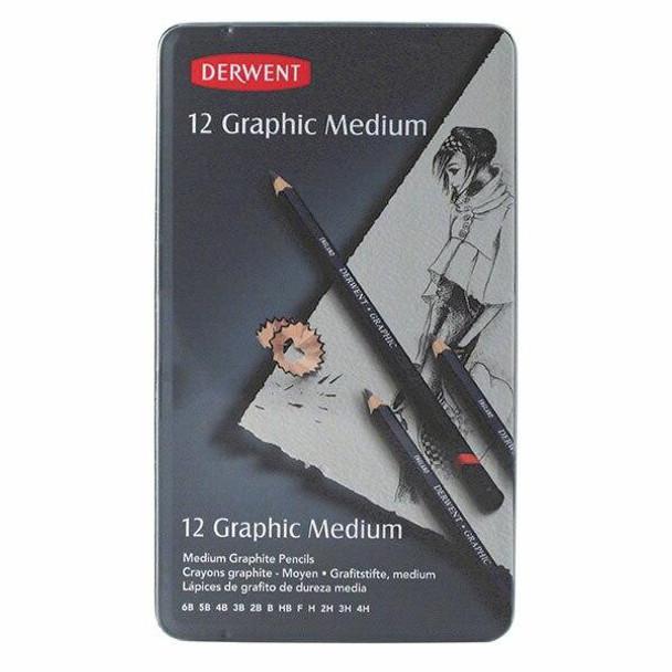 DERWENT Graphic Pencil MediumTin 12 X CARTON of 6 R34200
