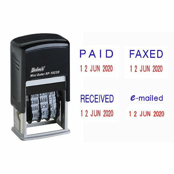 Deskmate Self-Inking Dater Stamp 4 Phrases RP1822D4