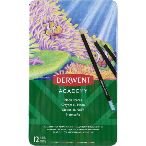 DERWENT Academy Colour Pencil Neon Tin 12 X CARTON of 6 2301935