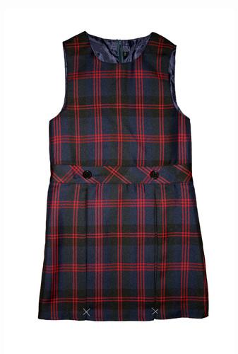 Red and navy tartan pinafore dress