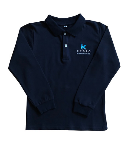 KIS navy long-sleeved polo shirt