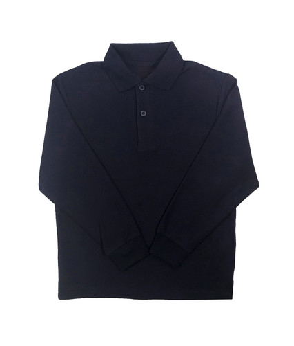 Navy blue long-sleeved polo shirt