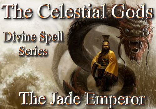 The Celestial Gods  Divine Spell Series The Jade Emperor  The Celestial Gods are the most powerful immortals in the universe. They rule over every aspect of creation and are said to live in a domain beyond time and space.  Every major culture on earth has recognized the existence of these divine beings.  They are ubiquitous in their placement in history, art, literature, religion, and mythology.  The Celestial Gods are more a part of our lives than ever, but religion, the media, and other authoritarian structures would have you believe otherwise.  The Gods want to help humans evolve.  For thousands of years, they gave us spells, rituals, incantations, invocations, items of power and many other tools to help us evolve beyond our suffering and imprisonment.    Time has eroded our access to these items and many of them have been sequestered by the powers that be. For the most part, only nobility, military powers, religious leaders, mystics, and shamans have had any access to the divine spells left us by our Gods.  Now, for the first time, we will restore a portion of these spells to humanity.  The Divine Spell Series will serve as a bridge to the power of the Celestial Pantheon of Gods.  These spells will allow you to summon and control a modicum of their power for everything that you need in life.  You will find that some of you have a special knack or connection to specific gods and their spells.  Others will find that they can use all of them.  We will release a number of books in this series that will access the power of a number of gods.  The first book in this series will focus on spells that will allow the user to work with the power of The Jade Emperor.  The Jade Emperor is one of the most powerful beings in the universe. He is the director and chairman of the Celestial Treasury and it is said that all forms of wealth pass through his hands.  He is very benevolent and kind. His power is available for us to use but we must avail ourselves of the correct spells.  This is the first time that humans will have access to the complete spell book of The Jade Emperor.  This book will allow you to work with the Jade Emperor directly for the first time to improve all aspects of your financial life. We will release 50 of these leather bound, gold stamped, cotton paper spell books.  Act quickly to get your copy today as supplies are limited. When these books are gone, there will not be any more.  Price: $1500