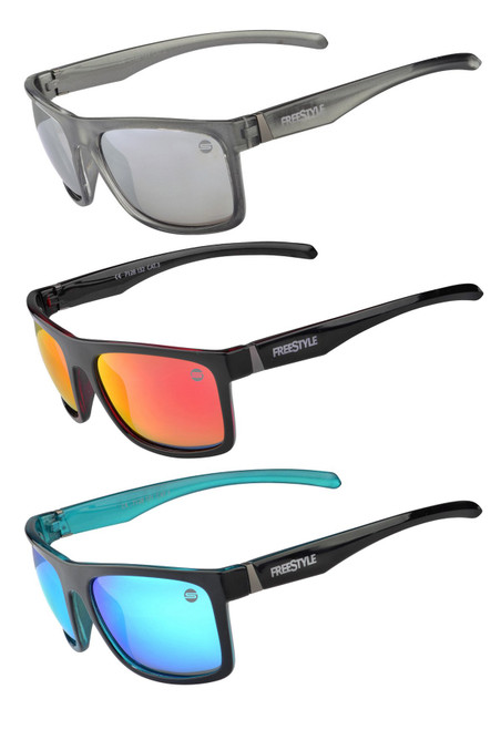 Freestyle Shades come in three different colour options. H20 Features a Black outer frame and blue inner frame. Onyx Features a Black outer frame and dark red inner frame. Granite Features a transparent outer frame and light grey inner frame.