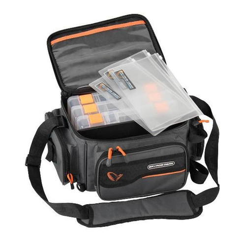 Savage Gear System Bag (Small). The Savage Gear Lure luggage range certainly is a comprehensive range. Specifically developed and designed by anglers for anglers and loaded with practical features and practical solutions. It is an extremely Practical, affordable no-nonsense luggage item for the modern lure angler!