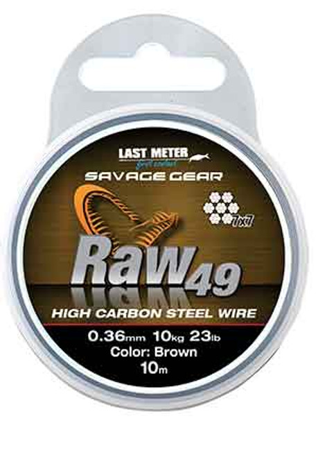 Savage Gear Raw 49   Silk soft 49 strand stainless steel wire, very flexible and easy to knot, also crimpable. This wire is perfect for making traces, rigs etc.