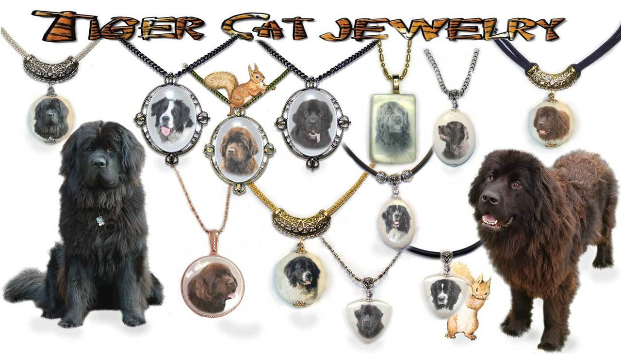 Newfoundland Dog Pendant Necklaces
