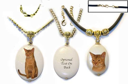 Sorrel Abyssinian Cat Custom Necklace pendant on Dolomite with gold trim