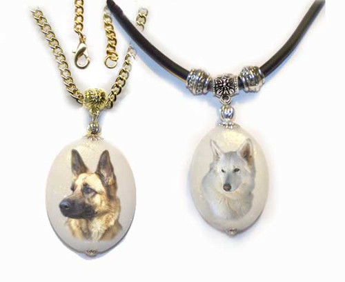 German Shepherd or White Shepherd  Photo Pendant - dolomite stone silver or gold trim on rope or chain.Optional text available on back.