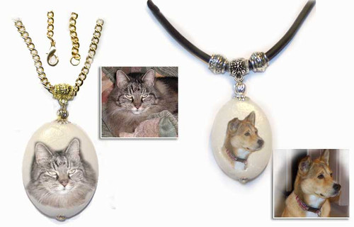 Pet Memorial Pendant with your photo - dolomite gemstone trimmed in gold or silver
