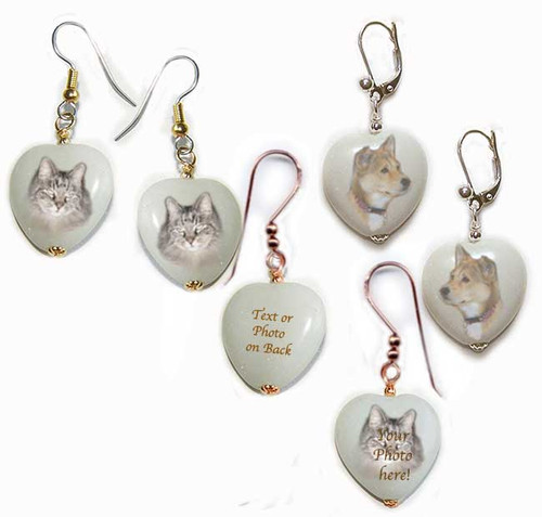 Your favorite photo is featured on Pet Memorial Heart Shaped earrings. Snow quartz gemstones available in gold or silver for pierced or non-pierced ears.