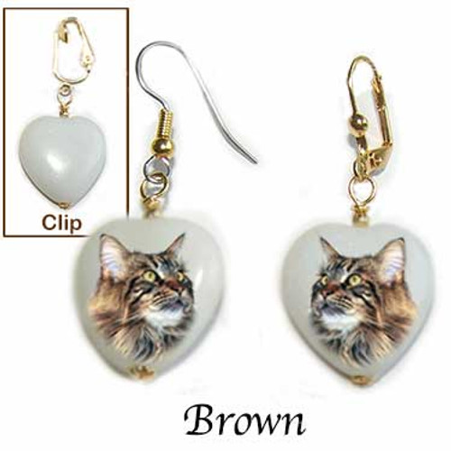 Brown Maine Coon Cat Heart Earrings - snow quartz / gold