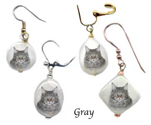 Maine Coon Cat Snow quartz earrings with gray cat