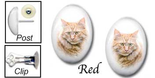 Red Tiger Maine Coon Cat Earrings - stud for pierced or clip for non-pierced