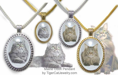 $25.99 Maine Coon Cat Ornate Pendant in Silver or Gold has an almost three dimensional look with transparent photo under glass. Three sizes and two colors to choose from with text on back as a free option.#MaineCoonJewelry#MaineCoonCat#CatJewelry#MaineCoonlCatPendant#TigerCatJewelry#PetMemorial