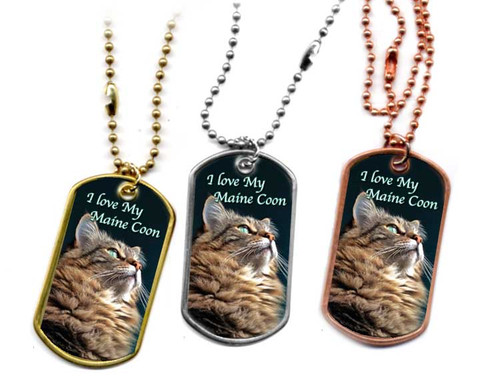 """I Love My Maine Coon Cat"" Dog Tag Necklace - choose stainless, brass or copper"