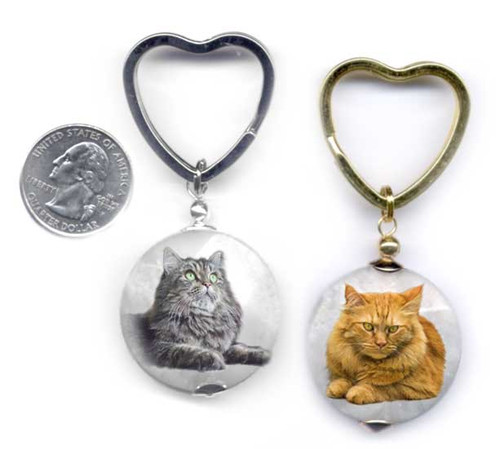 Maine Coon Cat Photo key ring.