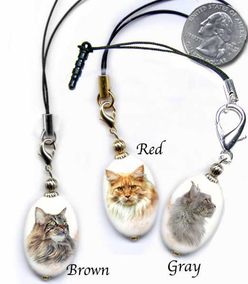 Maine Coon Cat Breed Lanyard and cell phone dust plug