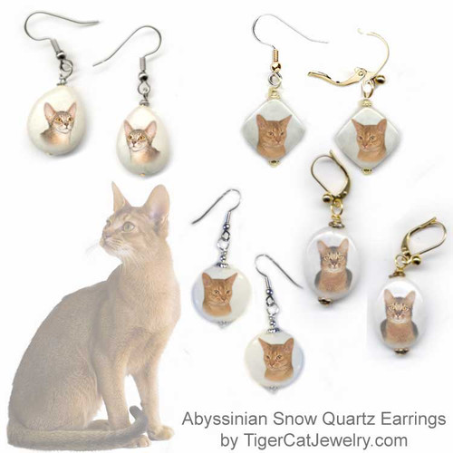 $16.99 Abyssinian cat breed earrings feature Fawn, Ruddy and Sorral Aby cat photos on snow quartz gemstones. 4 gemstone shapes, Silver, gold, pierced & clip.#AbyssinianCat#AbyCat#AbyssinianCatJewelry#AbyssinianCatEarrings#CatJewelry#PetMemorial#catearrings