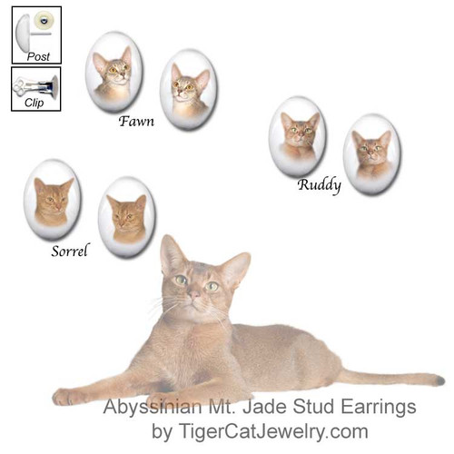 $19.99 Abyssinian cat breed earrings feature Fawn, Ruddy and Sorral Aby cat photos on Mt. Jade gemstones. Three cats to choose from, pierced & clip.#AbyssinianCat#AbyCat#AbyssinianCatJewelry#AbyssinianCatEarrings#CatJewelry#PetMemorial#TigerCatJewelry