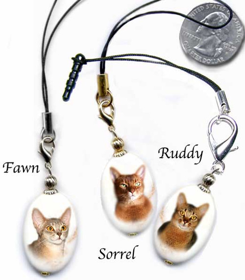 Abyssinian Cat Lanyard and Cell Phone Plug - photo gemstone