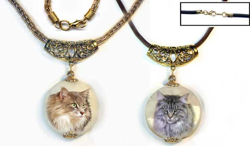 Maine Coon Cat Marble Pendant - gold