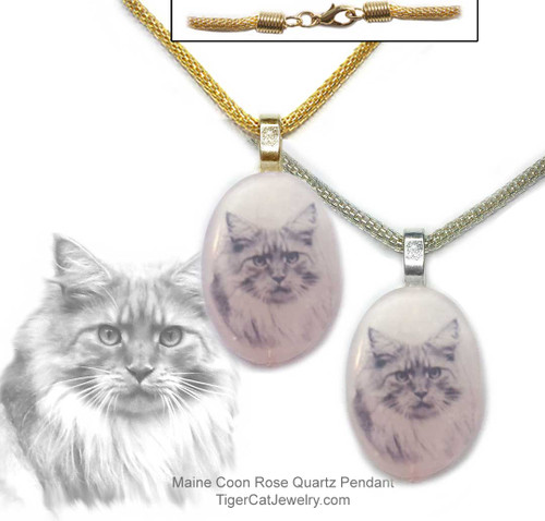 $16.99 A Maine Coon Cat ink sketch is featured on a Rose Quartz photo pendant. Trimmed in gold or silver plated metals. Translucent with a pink tint #MaineCoonCatJewelry#MaineCoonCat#CatJewelry#MaineCoonCatPendant#TigerCatJewelry#PetMemorial#RoseQuartz
