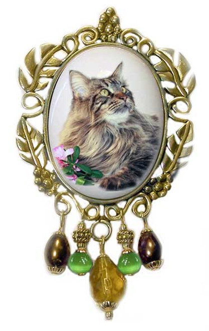 Maine Coon Cat Brooch - Victorian style