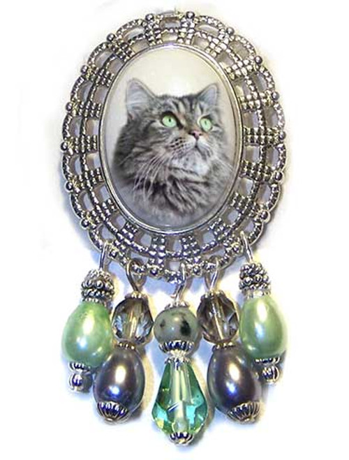 Gray Tiger Maine Coon Cat Filigree Brooch