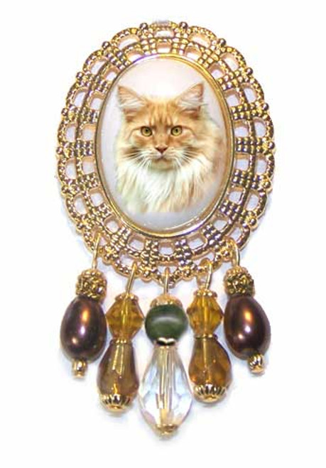 Red Mackerel Maine Coon Gemstone Crystal Brooch