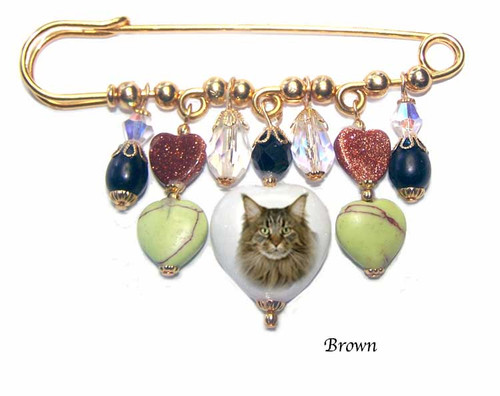 Brown Tiger Maine Coon Gemstone Kilt Pin - gold