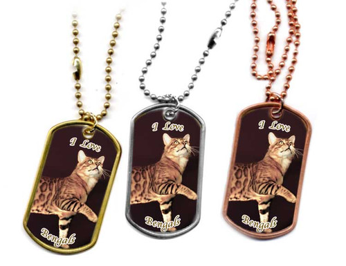 Brown Bengal Cat Dog Tag Necklace