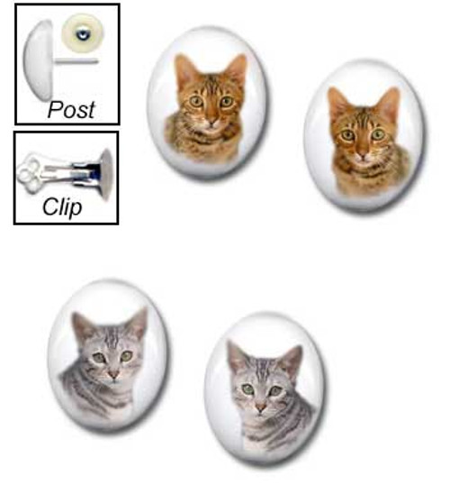 Bengal Cat stud earrings for pierced or clip for non-pierced