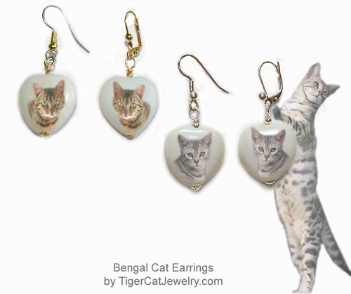 $16.99 Gray or Brown colored Bengal Cat Heart Earrings - Bengal Cat photo on white snow quartz gemstone with silver or gold attachments.#BengalCatJewelry#BengalCat #CatJewelry#BengalCatEarringst#TigerCatJewelry#PetMemorial