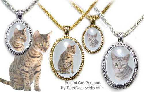 $25.99 Brown and Gray Bengal Cat Ornate Pendant in Gold or Silver has an almost three dimensional look with transparent photo under glass. Three sizes, two cats and two colors to choose from with text on back as a free option. #BengalCatJewelry#BengalCat #CatJewelry#BengalCatPendant#TigerCatJewelry