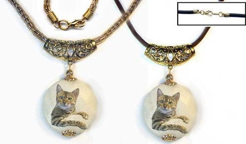 Bengal Cat Marble Pendant - gold