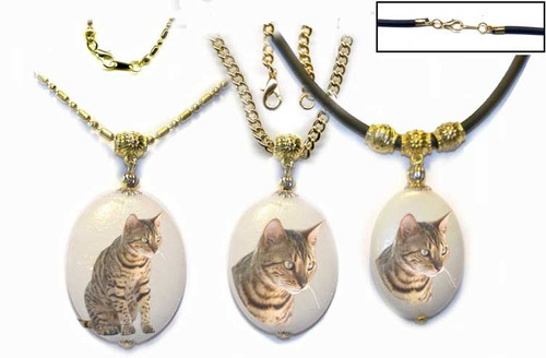 Brown Bengal Cat Dolomite pendant with gold trim