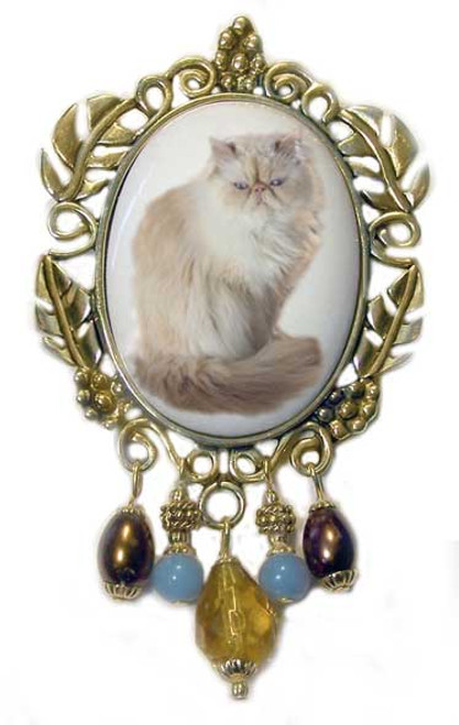 Victorian Persian  Cat Brooch